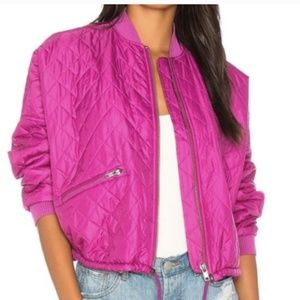 Free People Fuschia Pink Bomber Jacket